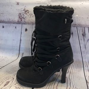Bakers black heeled lace up boots